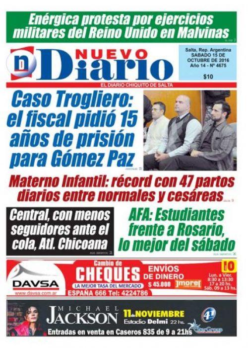 Tapa del 15/10/2016 Nuevo Diario de Salta