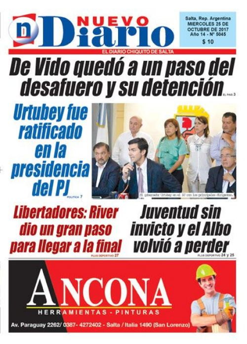 Tapa del 25/10/2017 Nuevo Diario de Salta