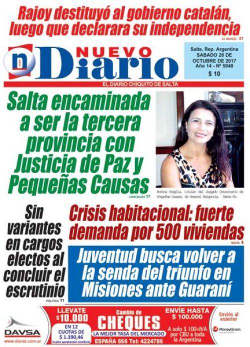 Tapa del 28/10/2017 Nuevo Diario de Salta