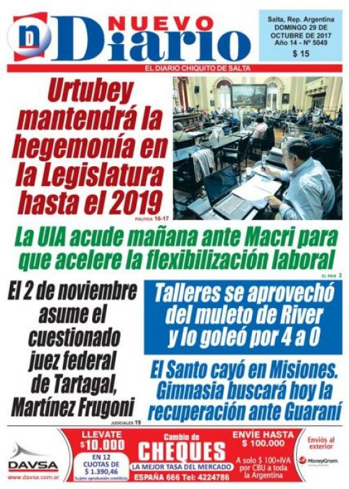 Tapa del 29/10/2017 Nuevo Diario de Salta