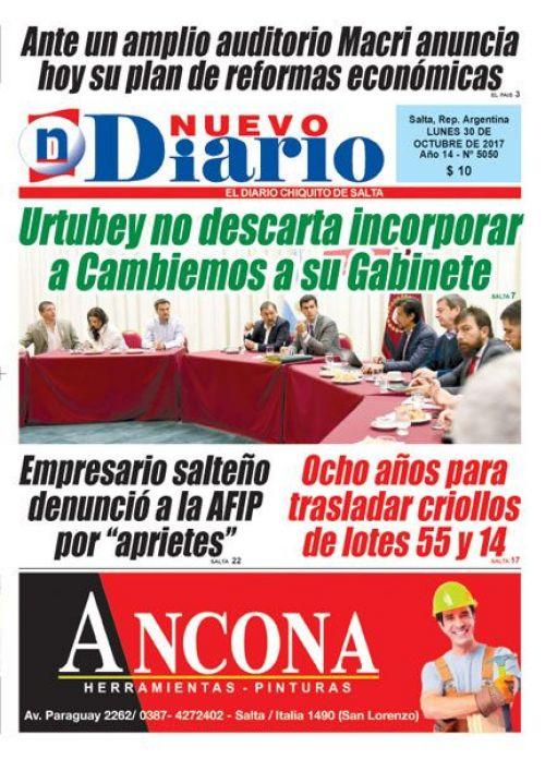 Tapa del 30/10/2017 Nuevo Diario de Salta