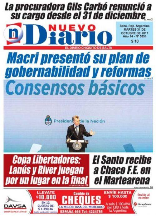 Tapa del 31/10/2017 Nuevo Diario de Salta
