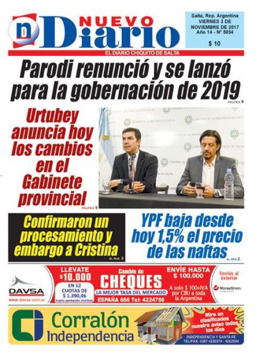 Tapa del 03/11/2017 Nuevo Diario de Salta