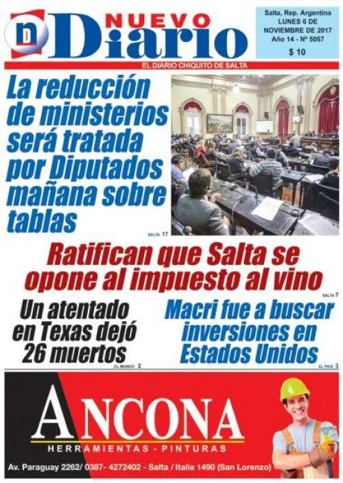 Tapa del 06/11/2017 Nuevo Diario de Salta