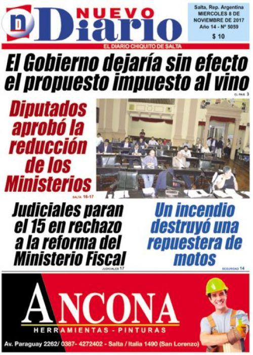 Tapa del 08/11/2017 Nuevo Diario de Salta