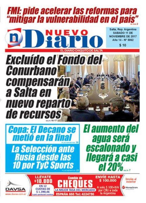 Tapa del 11/11/2017 Nuevo Diario de Salta