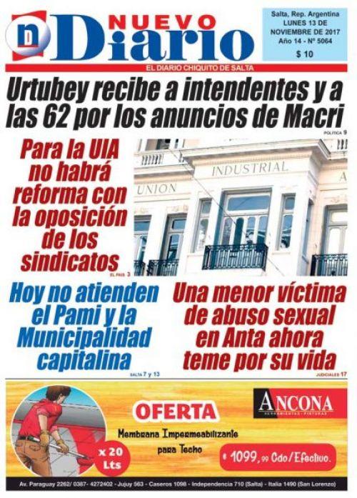 Tapa del 13/11/2017 Nuevo Diario de Salta