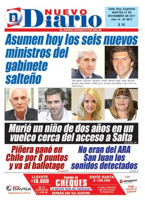 Tapa del 21/11/2017 Nuevo Diario de Salta