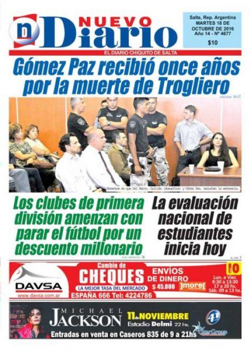 Tapa del 18/10/2016 Nuevo Diario de Salta