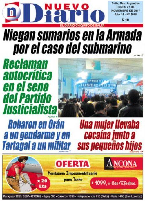 Tapa del 27/11/2017 Nuevo Diario de Salta