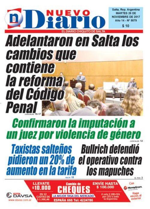 Tapa del 28/11/2017 Nuevo Diario de Salta