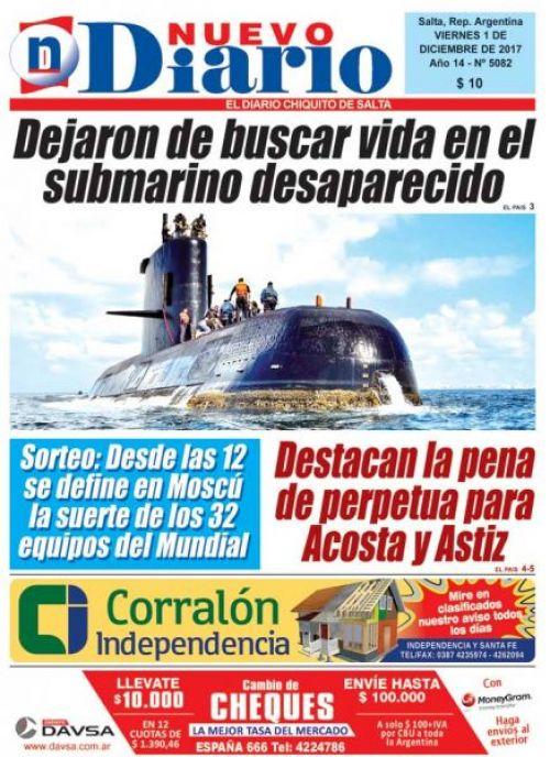 Tapa del 01/12/2017 Nuevo Diario de Salta
