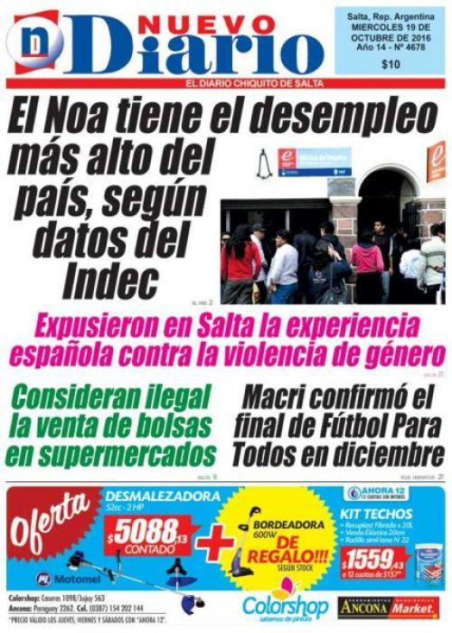 Tapa del 19/10/2016 Nuevo Diario de Salta