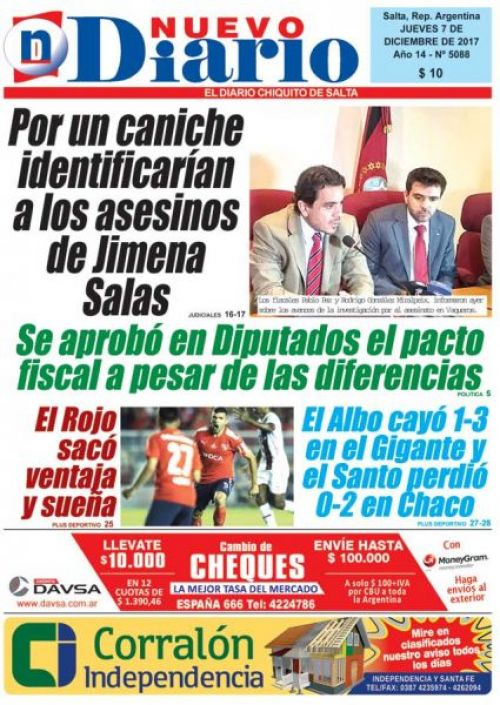 Tapa del 07/12/2017 Nuevo Diario de Salta