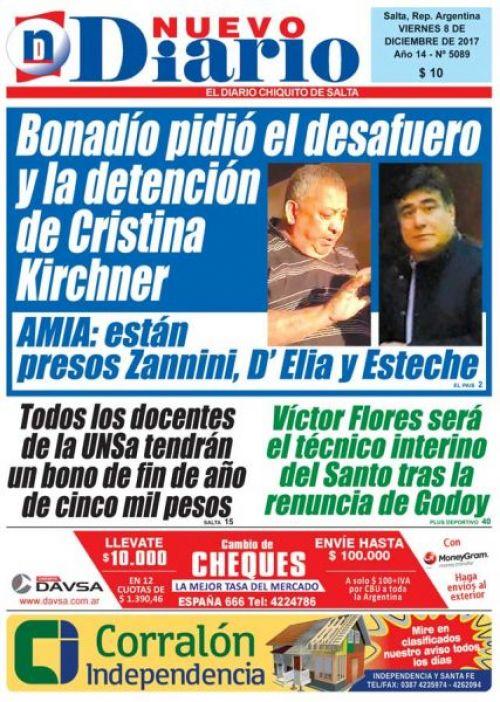 Tapa del 08/12/2017 Nuevo Diario de Salta