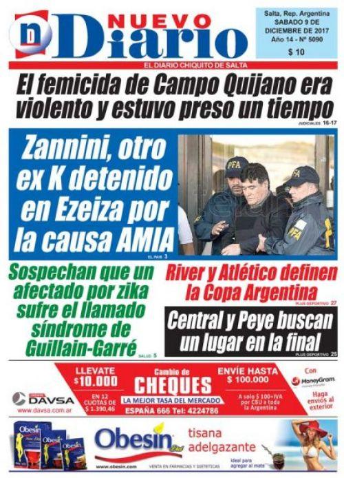 Tapa del 09/12/2017 Nuevo Diario de Salta
