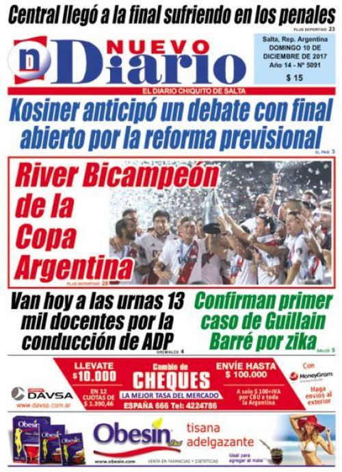 Tapa del 10/12/2017 Nuevo Diario de Salta