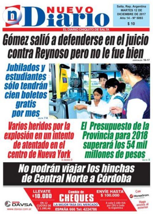 Tapa del 12/12/2017 Nuevo Diario de Salta