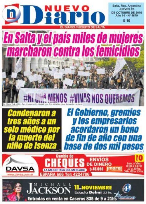 Tapa del 20/10/2016 Nuevo Diario de Salta