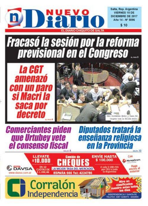 Tapa del 15/12/2017 Nuevo Diario de Salta