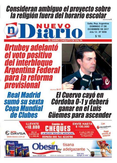 Tapa del 17/12/2017 Nuevo Diario de Salta
