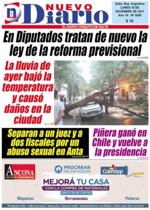 Tapa del 18/12/2017 Nuevo Diario de Salta