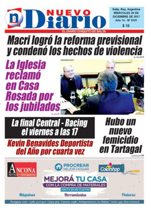 Tapa del 20/12/2017 Nuevo Diario de Salta
