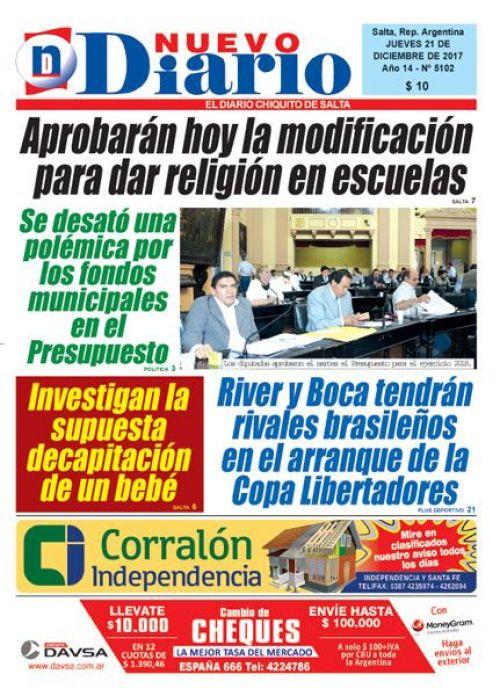 Tapa del 21/12/2017 Nuevo Diario de Salta