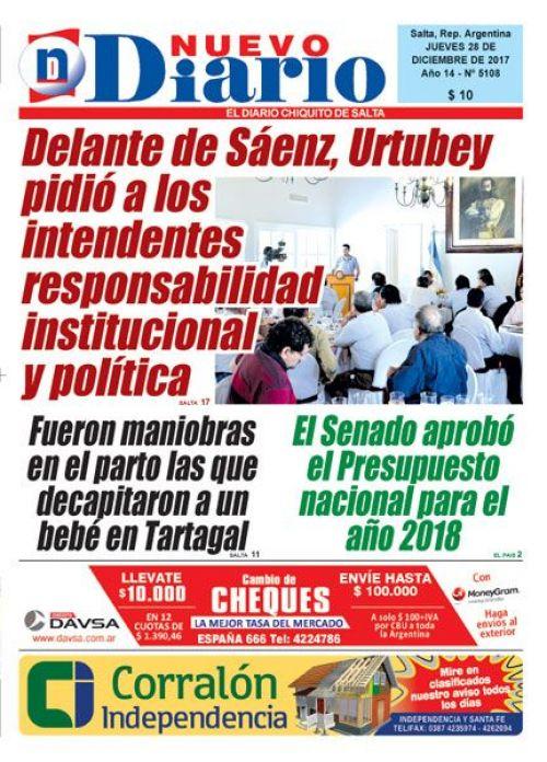 Tapa del 28/12/2017 Nuevo Diario de Salta