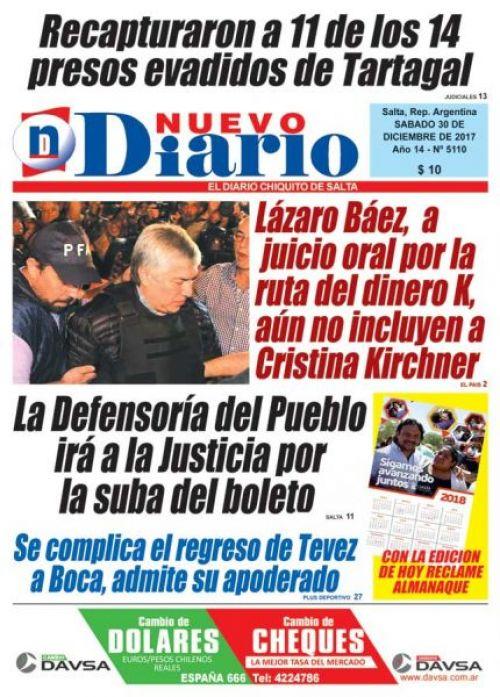 Tapa del 30/12/2017 Nuevo Diario de Salta