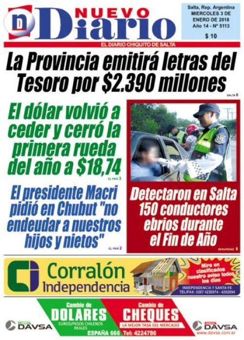 Tapa del 03/01/2018 Nuevo Diario de Salta