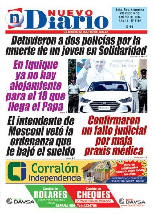 Tapa del 05/01/2018 Nuevo Diario de Salta