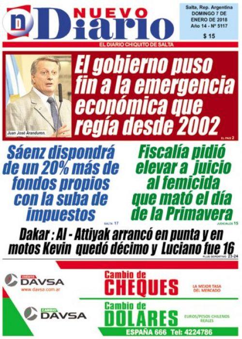Tapa del 07/01/2018 Nuevo Diario de Salta