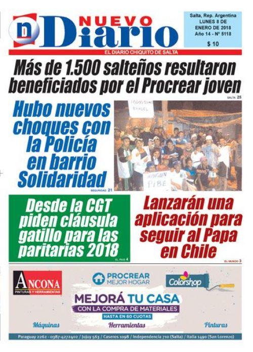 Tapa del 08/01/2018 Nuevo Diario de Salta