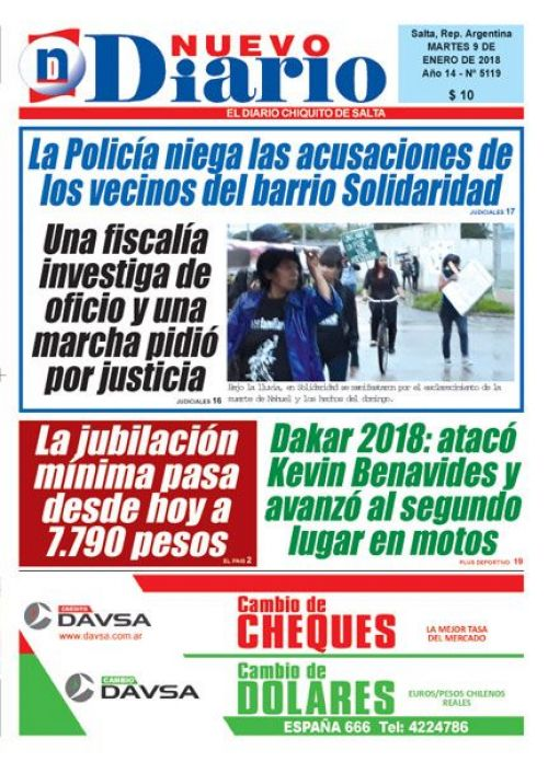 Tapa del 09/01/2018 Nuevo Diario de Salta