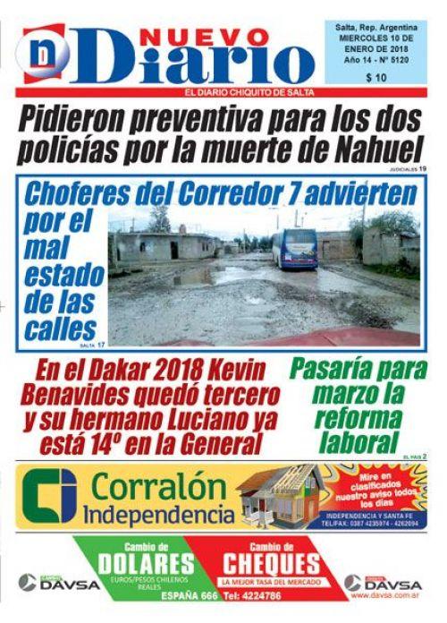 Tapa del 10/01/2018 Nuevo Diario de Salta