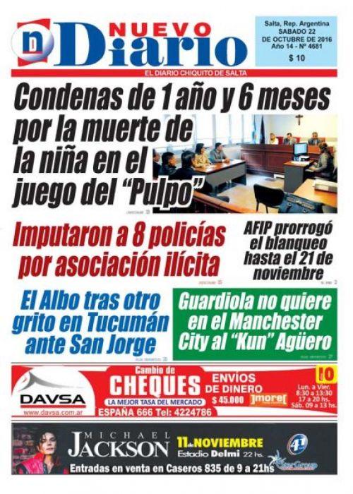 Tapa del 22/10/2016 Nuevo Diario de Salta