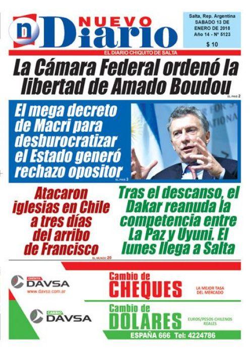 Tapa del 13/01/2018 Nuevo Diario de Salta