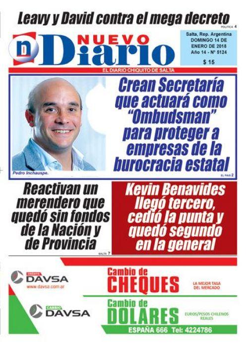 Tapa del 14/01/2018 Nuevo Diario de Salta