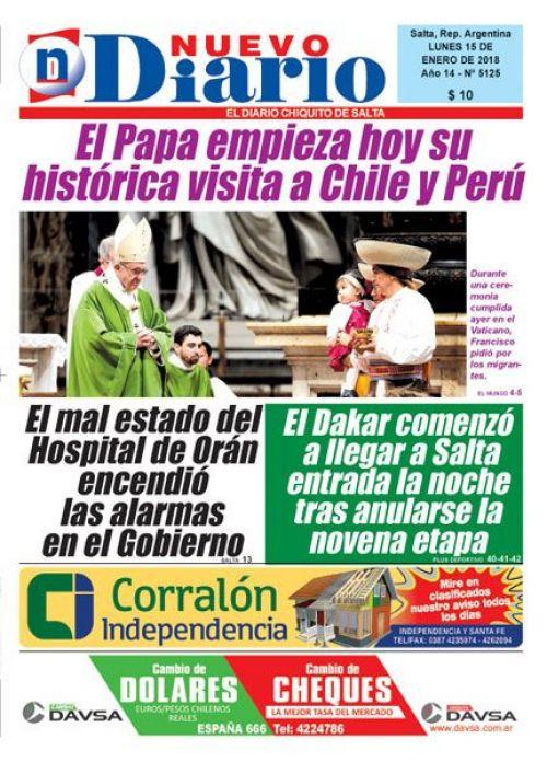 Tapa del 15/01/2018 Nuevo Diario de Salta