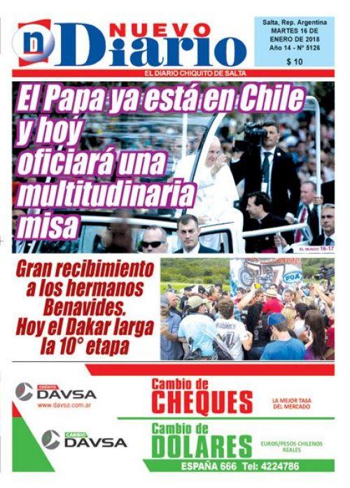 Tapa del 16/01/2018 Nuevo Diario de Salta