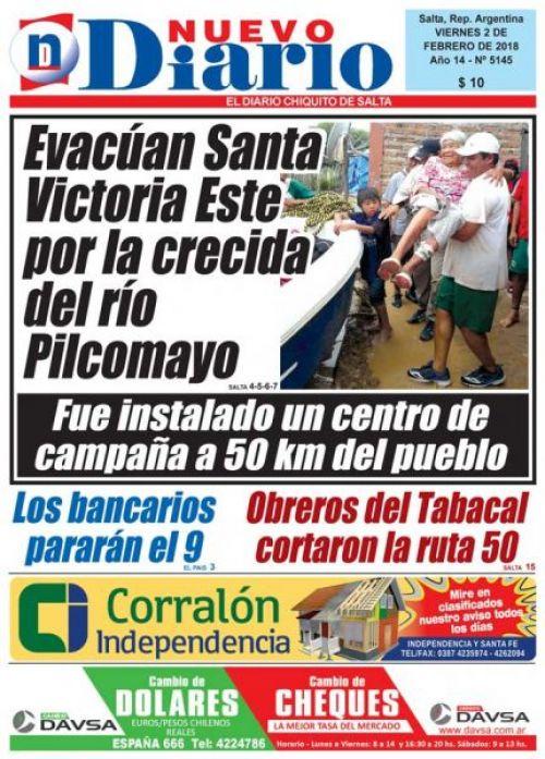 Tapa del 02/02/2018 Nuevo Diario de Salta