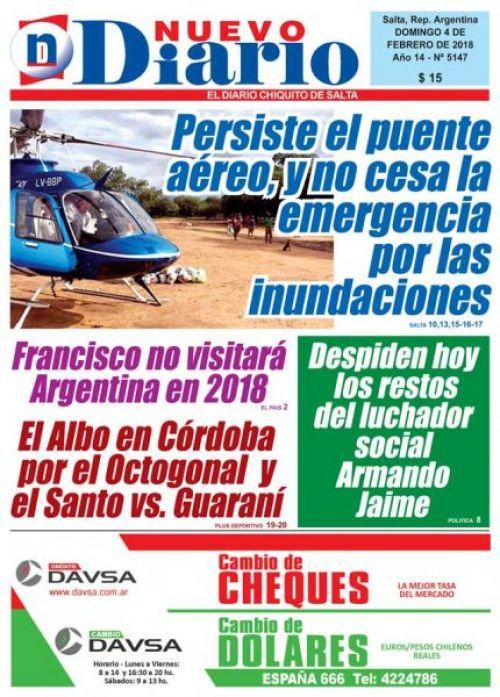 Tapa del 04/02/2018 Nuevo Diario de Salta