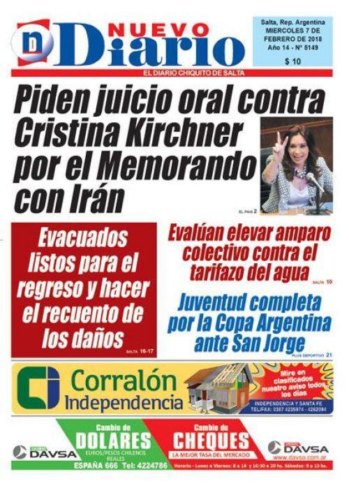 Tapa del 07/02/2018 Nuevo Diario de Salta