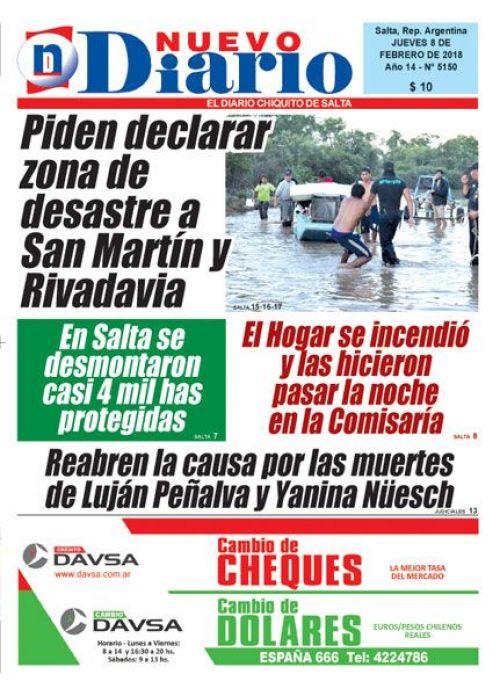 Tapa del 08/02/2018 Nuevo Diario de Salta