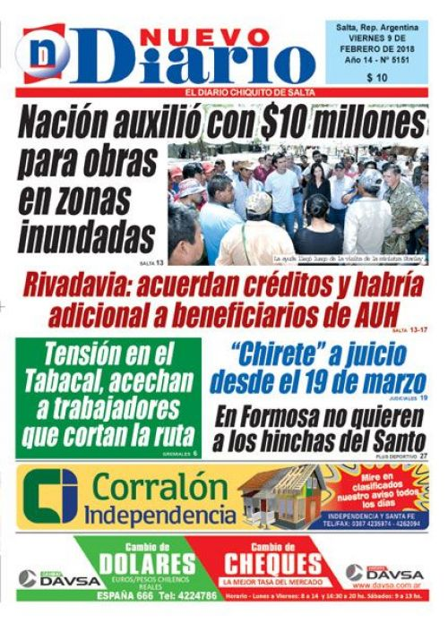 Tapa del 09/02/2018 Nuevo Diario de Salta