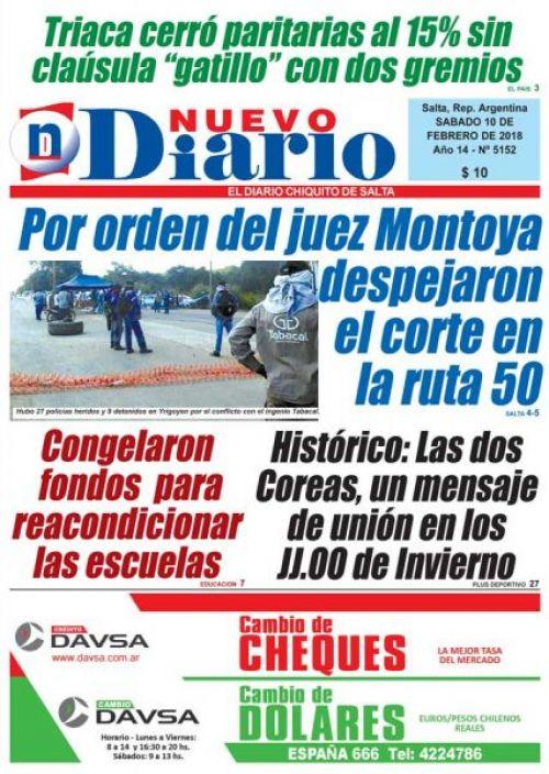 Tapa del 10/02/2018 Nuevo Diario de Salta
