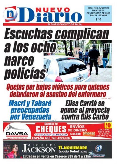 Tapa del 25/10/2016 Nuevo Diario de Salta