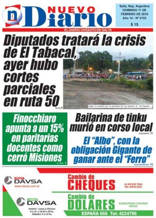Tapa del 11/02/2018 Nuevo Diario de Salta