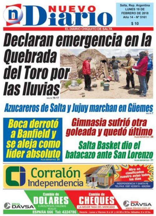 Tapa del 19/02/2018 Nuevo Diario de Salta